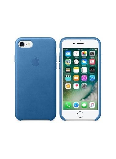 Apple Iphone 7/8 Orjinal Sea Blue Deri Kılıf Renkli